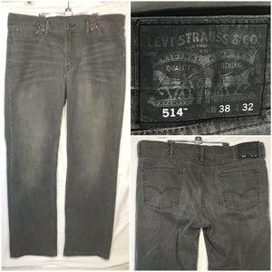 Levi's 514 Mens 38x32 Gray Jeans Regular Fit EUC